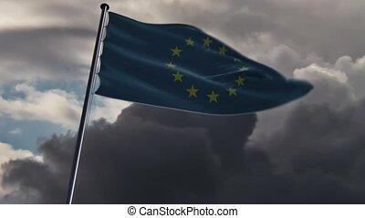EU Flag, HQ animated, doomy - ready to use animation of the...