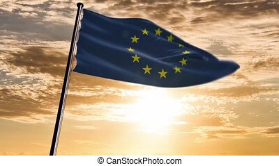 EU Flag, HQ animated, sunset