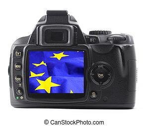 eu flag in digital camera or dslr isolatedon white background