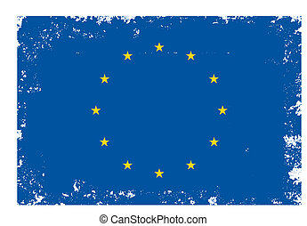 Eu flag in grunge