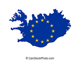 EU flag on map of Iceland