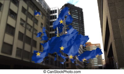 Animation of map of Europe, European Union flag with yellow stars and modern building on blue background. European community economy concept digitally generated image.