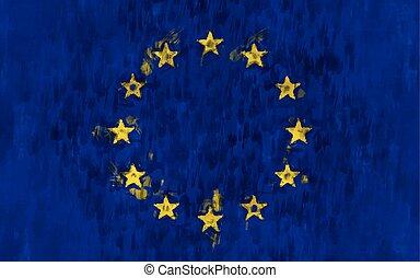 eu flag painting vector