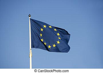 EU Flag towards blue sky