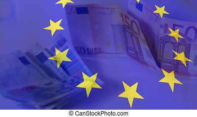 Animation of European Union flag waving over Euro currency banknotes falling. Global finance and business concept digitally generated image.