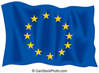 EU flag - Waving flag of European Union from vector