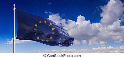 EU flag waving on blue sky background. 3d illustration