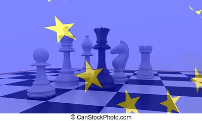 Animation of waving European Union flag with yellow stars and chess on blue background. European community economy concept digitally generated image.