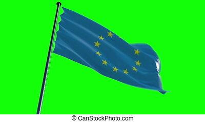 EU Flag with greenscreen and alpha
