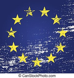 EU flag with grunge. Vector illustration eps10