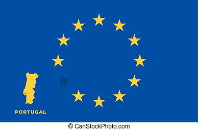 EU flag with Portugal country. European Union membership Portugal