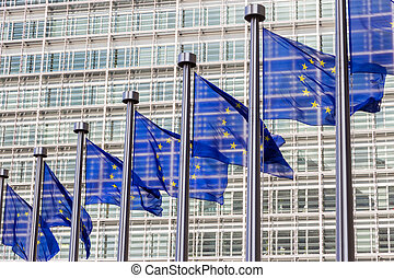 EU flags - Flags in front of the EU Commission building in ...
