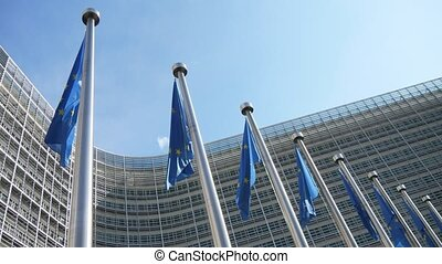 EU flags fluttering at the European Parliament in blue sky...