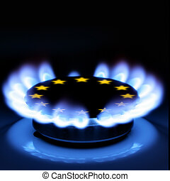 EU Gas - Gas flame and European Union Sign on the hob