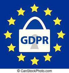 EU GDPR symbol. Vector illustration.