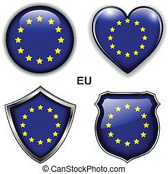 EU icons - EU, European Union flag icons, vector buttons.