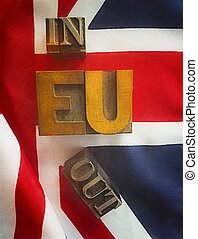 EU in or out words on British flag