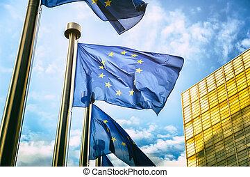 eu, komisja, bandery, przód, brukselski, europejczyk