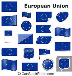 eu, land, kleuren, vlaggen