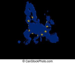 EU map flag rotating animation