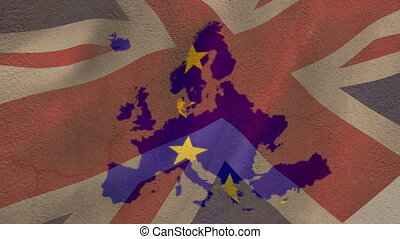 Animation of Europe made of European Union flag waving with Great Britain flag waving in the background. European Union flag and holiday concept digital composition.