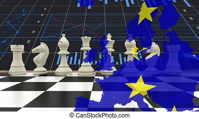 Animation of map of Europe, European Union flag with yellow stars, statistics over chess board in the background. European community economy concept digitally generated image.