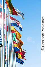 EU Member flags in front of European Prliament