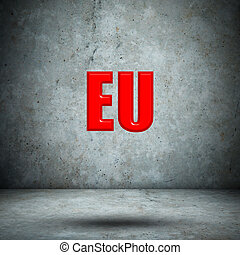 eu on concrete wall