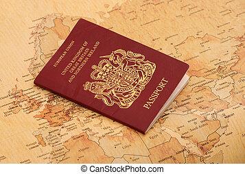 EU Passport on a world map abstract