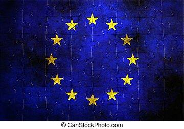 EU puzzle flag grunge concept