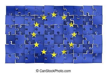 EU puzzle - Unfinished European Union Flag puzzle