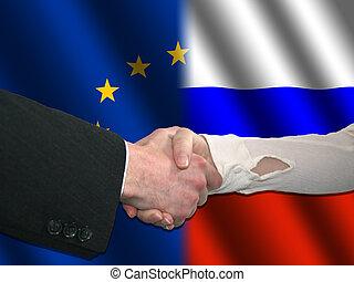 EU Russian handshake - handshake over EU and Russian ...