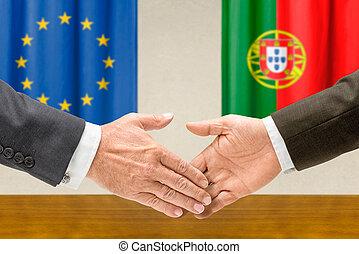 eu, secousse, représentants, portugal, mains