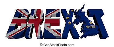 eu, testo, brexit, bandiere, britannico