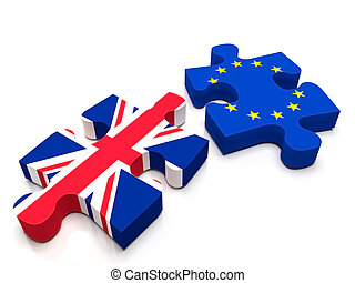 EU - UK Brexit - 2 puzzle pieces: One containing the British...