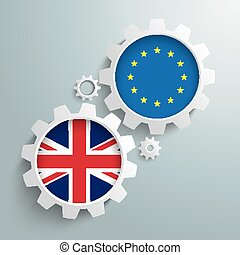 EU UK Partnership Gears - White gears with UK and EU flags