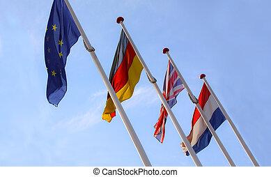 eu, uni, mâts, angleterre, ensemble, france, onduler, royaume, drapeau, union, drapeaux, allemagne, européen