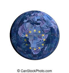eu, valuta, globo, bandiera, illustrazione