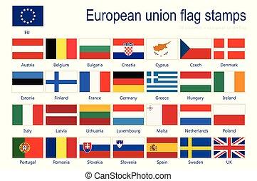 eu, vecteur, drapeaux