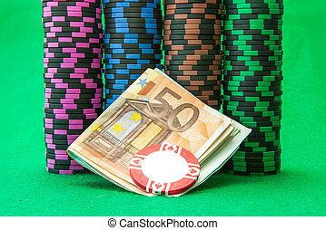 eu, vert, puces casino, table