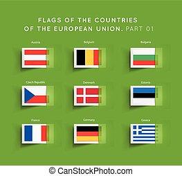 eu, vlaggen, landen