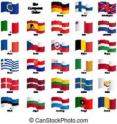 eu, vlaggen, -, verzameling, land