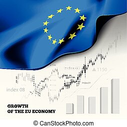 eu, volkswirtschaft, abbildung, mit, der, europäische gewerkschaftsmarkierung, und, geschaeftswelt, tabelle, balkendiagramm, bestand, zahlen, hausse, uptrend, linie diagramm, symbolisiert, der, wachstum