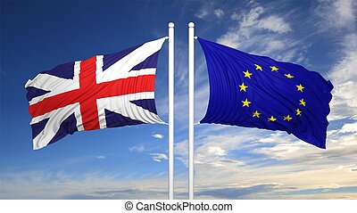 eu, y, británico, banderas