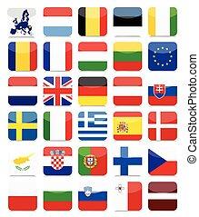 eu, zászlók, lakás, derékszögben, ikon, állhatatos