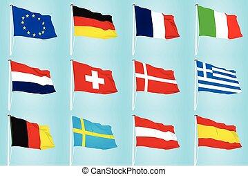 eu, zászlók, vektor
