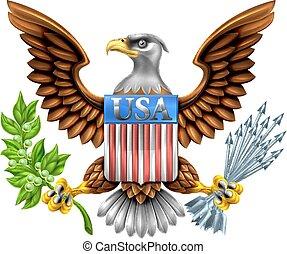 eua, águia, escudo, desenho