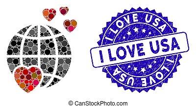 eua, ícone, planeta, mosaico, encantador, amor, angústia, selo