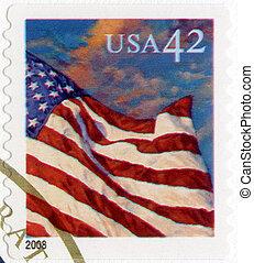 eua, -, 2008:, mostra, um, bandeira americana, voando, em, a, brisa, em, pôr do sol, série, bandeira, 24/7