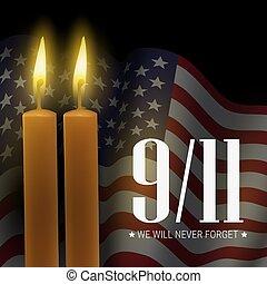 eua, 9/11, day., forget., vetorial, nós, bandeira, velas, vontade, memorial, patriota, nunca, bandeira